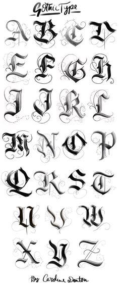 Gotisches Alphabet – … – Graffiti World Gothic Lettering, Graffiti Lettering Fonts, Chicano Lettering, Gothic Fonts, Tattoo Typography, Gothic Script, Tattoo Quotes, Cool Lettering, Tattoo Font Script