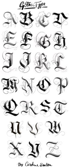 Gotisches Alphabet – … – Graffiti World Tattoo Lettering Styles, Graffiti Lettering Fonts, Gothic Lettering, Chicano Lettering, Gothic Fonts, Tattoo Typography, Gothic Script, Fonts For Tattoos, Cool Lettering