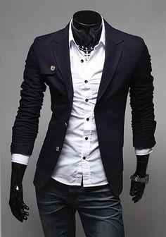 Stylish Lapel Neck Two Buttons Design Slimming Long Sleeves Polyester Blazer For Men (BLACK,M) | Sammydress.com