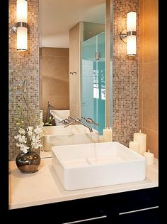 Bathroom Design - Just like the tiles & mirror area. Not the faucet or design interior design bathroom design decorating before and after Bathroom Renos, Bathroom Interior, Modern Bathroom, Small Bathroom, Master Bathroom, Small Sink, Bathroom Ideas, Design Bathroom, Bathroom Mirrors