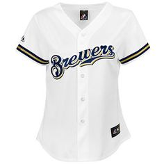 best sneakers fc16c b3435 Milwaukee Brewers Majestic Women s Plus Size Replica Jersey - White Milwaukee  Brewers, Discount Nikes,