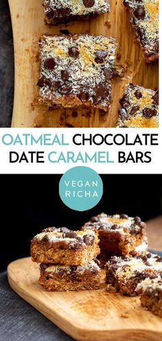 These Vegan Date Caramel Bars are the best grab-and-go snack for all lovers of oatmeal bars, chocolate, and caramel. Easy & delicious oatmeal chocolate chip bars made completely from scratch in no time, layered with creamy homemade date caramel. Strawberry Dessert Recipes, Healthy Dessert Recipes, Snack Recipes, Snacks Ideas, Healthy Snacks, Vegan Chocolate Bars, Chocolate Chip Bars, Vegan Sweets, Vegan Desserts