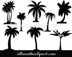Palm tree silhouette vector pack - Silhouette Clip Art