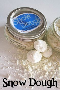 So fun to make with the kids - Snow Dough! Includes printable Label for your mason jars.