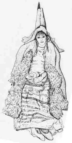 """Drawing of one of the """"Subashi Witches"""" wearing a bulky sheepskin overcoat. Description from karakalpak.com. I searched for this on bing.com/images"""