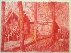 New work : The Neighbour, pencil on paper, 50x69cm, 2012. Courtesy Galleri Susanne Ottesen © Morten Schelde