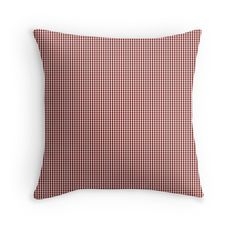 'Mini Vintage New England Shaker Dark Barn Red Milk Paint Gingham Check Plaid' Throw Pillow by oldshaker Plaid Throw Pillows, Red Barns, Gingham Check, Milk Paint, New England, Chiffon Tops, Vintage Fashion, Diy, Painting