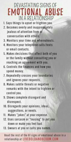 Learn to recognize the signs of emotional abuse in relationships so you can start reclaiming your power and self-esteem. psychology 61 Devastating Signs Of Emotional Abuse In A Relationship Narcissistic People, Narcissistic Behavior, Narcissistic Abuse Recovery, Narcissistic Husband, Narcissistic Personality Disorder, Narcissistic Sociopath, Toxic Relationships, Healthy Relationships, Distance Relationships