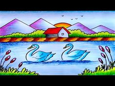 Easy Scenery Drawing with Oil Pastel || Simple Scenery Drawing-Step by Step - YouTube Beautiful Scenery Drawing, Easy Scenery Drawing, Cool Easy Drawings, Easy Drawings Sketches, Oil Pastel Drawings, Nature Drawing For Kids, Art Drawings For Kids, Baby Drawing Easy, Oil Pastel Colours