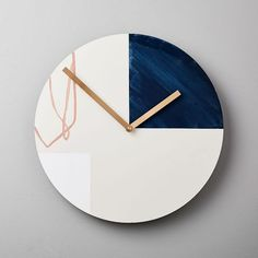 From their studio in Audubon, Iowa, the team behind letterpress studio Moglea create abstract works with unexpected tactile dimension. This hand-painted wall clock turns a functional accessory into a piece of art. Mirror Wall Art, Frame Wall Decor, Diy Wall Decor, Home Wall Art, Frames On Wall, Wall Clock Decor, Boho Decor, Modern Wall Decor, Wall Decorations