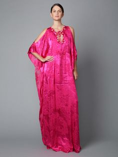Badgley Mischka Collection  Silk Embellished Caftan  $199 Gilt...Insane sale!