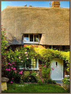 Never say never in Nether Wallop because it's a magical place where dreams can come true. Thatched cottage in the village of Nether Wallop in Hampshire, England. Fairytale Cottage, Storybook Cottage, Romantic Cottage, Garden Cottage, Storybook Homes, Romantic Homes, Cute Cottage, Cottage Style, Cottage Living