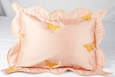 Butterfly Embroidered on Pink Pure silk dupion by BHARATUSALTD