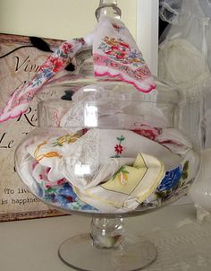Cute way to get those sweet antique hankies out of drawers