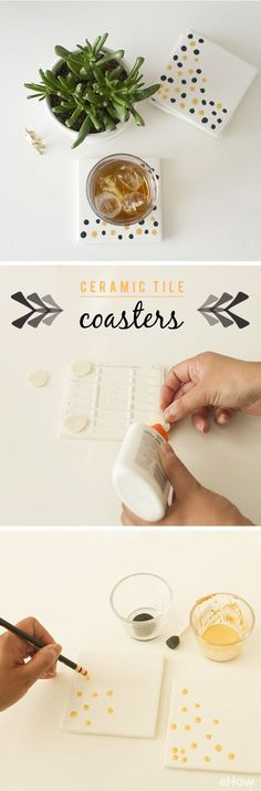 Ceramic tiles as coasters is the easiest way to use leftover tiles from your last remodeling project! It's also great for any ages and any level of crafters. Get the DIY instructions here: http://www.ehow.com/how_4591552_ceramic-tile-coasters.html?utm_source=pinterest.com&utm_medium=referral&utm_content=inline&utm_campaign=fanpage