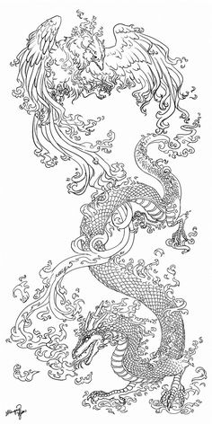 ideas and examples of the incredibly beautiful dragon tattoo - lsraj . - ideas and examples of the incredibly beautiful dragon tattoo – lsraj love - Tattoo Dragon And Phoenix, Phoenix Drawing, Phoenix Bird Tattoos, Phoenix Tattoo Sleeve, Dragon Tattoo On Ribs, Dragon Tattoo Drawing, Tribal Phoenix Tattoo, Leg Tattoos, Arm Tattoo