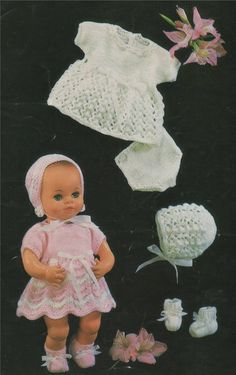 Dolls clothes knitting pattern for 12 inch doll Laminated copy V Doll 71 Knitting Dolls Clothes, Crochet Doll Clothes, Knitted Dolls, Doll Clothes Patterns, Doll Patterns, Crochet Dolls, Knitted Bags, Cloth Patterns, Crochet Hats