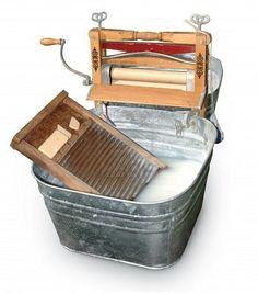 wash tub, wash board