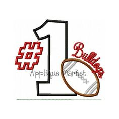 Football No. 1 Bulldoga appliquemarket.com $4 sale price $2.80