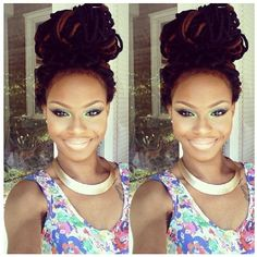 her makeup is perfect and so are her locs! #fabnaturals #naturalhair