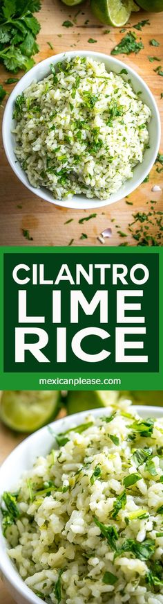 By keeping just a few ingredients on hand you'll always have the option of whipping up this light, effervescent Cilantro Lime Rice. Works well in burrito bowls but also tastes great on its own! http://mexicanplease.com