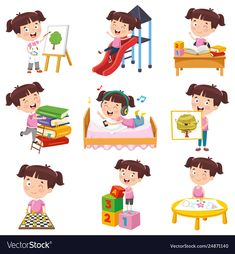 Girl doing various activities Royalty Free Vector Image Funny Kids, Cute Kids, Toddler Clock, Urban Icon, English Worksheets For Kids, School Labels, School Posters, Happy Kids, Girl Cartoon