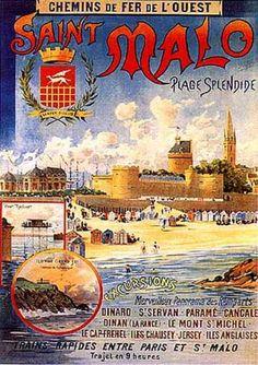 Saint Malo , Bretagne, france . vintage travel beach poster #plage #affiche www.varaldocosmetica.it/en
