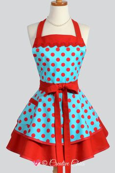 Womens Retro Ruffled Aqua Red Polka Dots Sexy Rockabilly Kitchen Apron with Pocket and Personalized Mothers Day Gift Option Retro Apron, Aprons Vintage, Rockabilly, Corsage, Personalized Aprons, Kitchen Aprons, Kitchen Retro, Cute Aprons, Rick Rack
