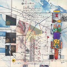 Timothy C. Ely, Vector 1 paper, pigments, wax, metals on wood Collage Art, Collages, Artist Sketchbook, Space Images, Ely, Mark Making, Map Art, Bookbinding, Artist At Work