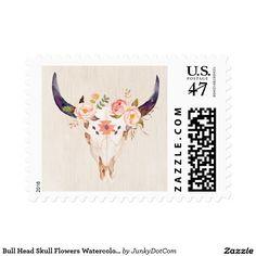 Bull Head Skull Flowers Watercolor Illustration Postage Oct 17 2016 @zazzle #junkydotcom  3x