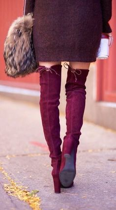 Merlot over the knee boots