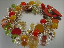 Bracelet ~ AUTUMN CHILES ~ Gem and Lampwork Charm Bracelet