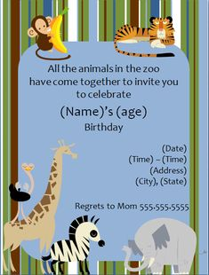 Zoo Animal Birthday Party Invitation Template http://www.invitationtemplates.org/zoo-animal-birthday-party-invitation-template