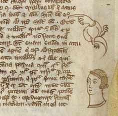 Manicule and Head Marginalia, Via Royal 12 E XXV f. 23, late 13th century.