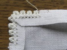 The Corner of the Folded Peahole Edging - Luzine Happel Hardanger Embroidery, Ribbon Embroidery, Cross Stitch Embroidery, Embroidery Patterns, Cross Stitch Patterns, Embroidery Techniques, Sewing Techniques, Swedish Weaving, Smocking
