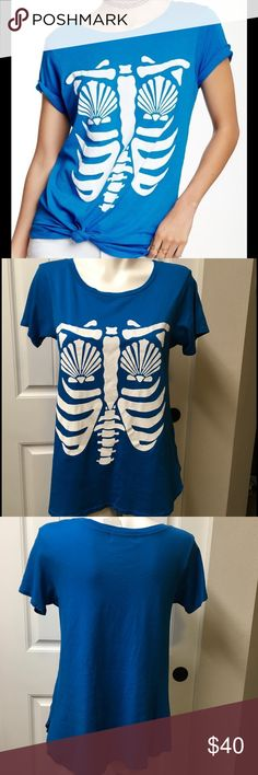 """Wildfox Mermaid Skeleton TShirt Blue Halloween S NWT Wildfox Mermaid Skeleton T-Shirt Blue Rib Cage Halloween Small Shells Tee  Brand new with tags.  Tagged size small but please see measurements to ensure proper fit. Measured flat unstretched.  Bust - 18.5"""" Length - 27""""  See photos. Ask any questions before purchasing. Wildfox Tops Tees - Short Sleeve"""