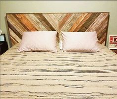 Chevron rustic headboard made with reclaimed wood. Handmade in Minnesota using recycled materials, this headboard can be hung or attached to your bed frame! Add this unique piece to your bedroom for an elegant rustic touch! We offer all sizes from twin to California king. Item shown is finished with a mix of different stains, and a bit of white weathering here and there. We offer many different finishes including but not limited to stains, distressed chalk paint, and weathered. Some options…