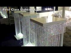 Led Custom Bespoke Crystal Wedding Pillars Chandelier by First Class Lighting Ltd - YouTube