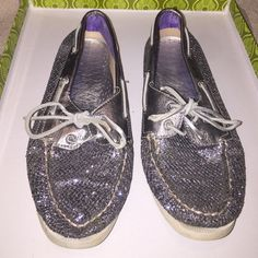 Sperry Boat Shoes!! Silver/Purple Worn a couple of times, they've just been sitting in my closet for awhile now so I decided to let them go!! If you have any other questions just ask :) Sperry Top-Sider Shoes Flats & Loafers