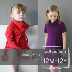 NEW Cowl Neck Jumper Dress and sweater pattern  PDF12m - 12y easy sew  tunic dress sweater