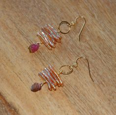 Dusty Pink Freshwater Pearls with  Raw Tourmaline Drops and 14k Gold Filled  Ear Wires