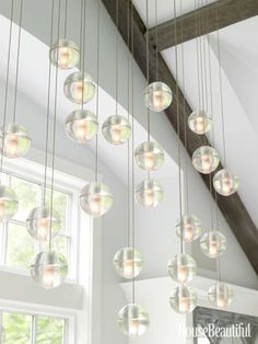 #Kitchen of the Month, December/January 2013. Design: Louise Brooks. Glass spheres lighting fixture.