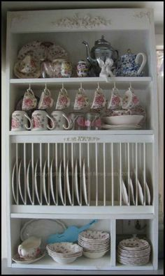 DIY china cabinet with plate rack