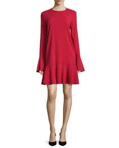 Marah+Long-Sleeve+Drop-Peplum+Dress,+Dark+Vermillion+by+Theory+at+Neiman+Marcus.