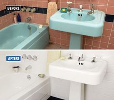 Wow! Check out this amazing, dramatic transformation! This bathroom was in some serious need of a makeover. The colors were outdated, the bathtub was chipped and the grout was covered in mold. To tear out and replace all of that tile and the fixtures would have been a huge, time consuming and expensive project. Instead, the homeowner called Miracle Method. We were able to repair all of those chips, seal in the grout and refinish everything in white without tearing out a thing!