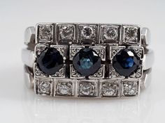 Vintage Ring 0,30 Karat Brillanten 0,90 Karat Saphire 585 Gold   eBay