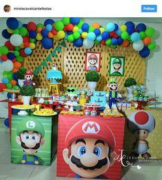 Ideia Arco de Balões Desconstruídos para Festa Mario Bros
