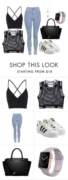 """""""Untitled #32"""" by ahmya-artis on Polyvore featuring Topshop, Moschino, adidas Originals, MICHAEL Michael Kors and Panacea"""