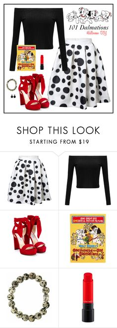 """""""101 Dalmations costume"""" by humblechick1 ❤ liked on Polyvore featuring Jimmy Choo, Olympia Le-Tan, MAC Cosmetics, disney, 101Dalmations and halloweencostume"""