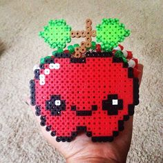 Kawaii apple perler beads by plurlina